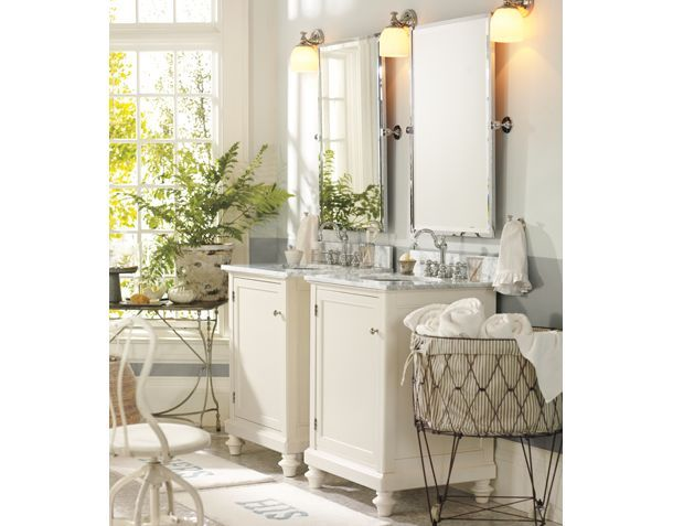 White bathroom decor pottery barn bathrooms pinterest for Bathroom decor pottery barn