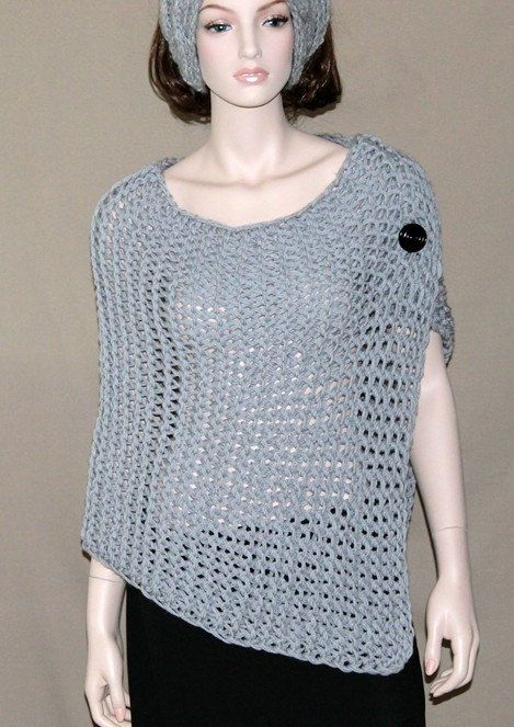 Knitting Pattern For Chunky Poncho : Womens Hand Knit Chunky Poncho - Capelet - Wrap - Textured ...