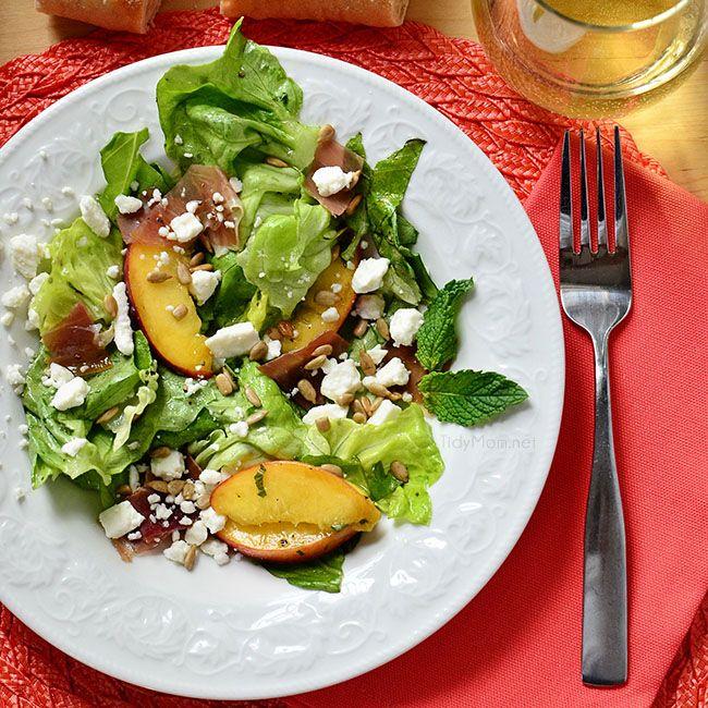 Summer on a fork! Feta, Peach & Prosciutto Salad. Recipe at TidyMom ...