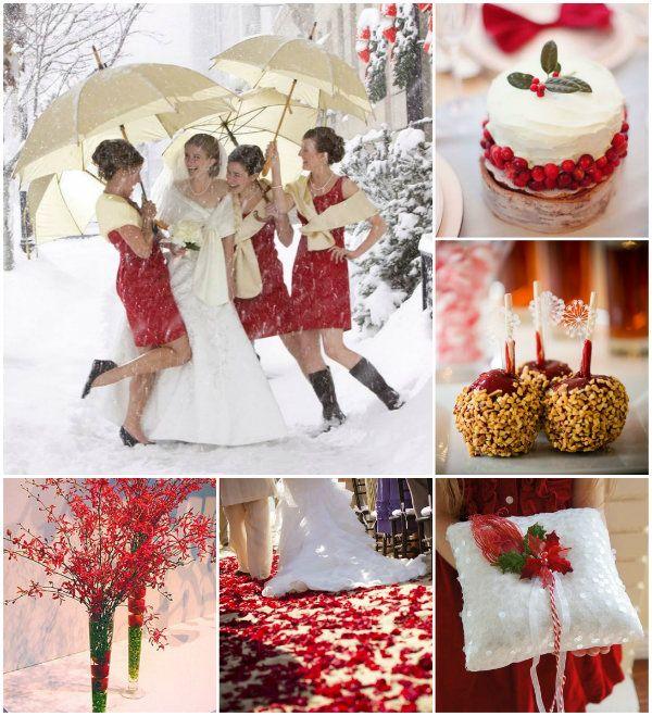 Weiße Weihnachten Hochzeit mit Rot und Grün Dekoration Inspiration ...
