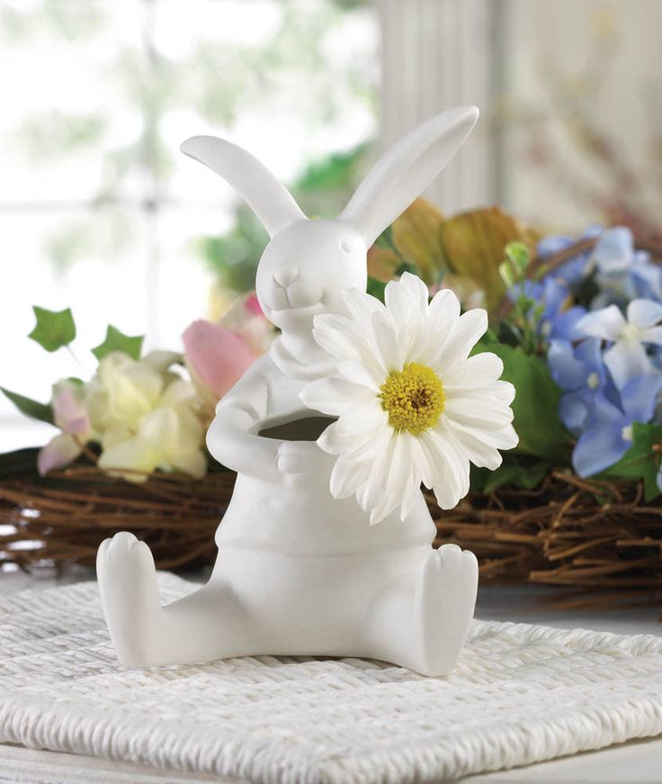 White rabbit vase porcelain easter bunny home decor accent new for Rabbit decorations home