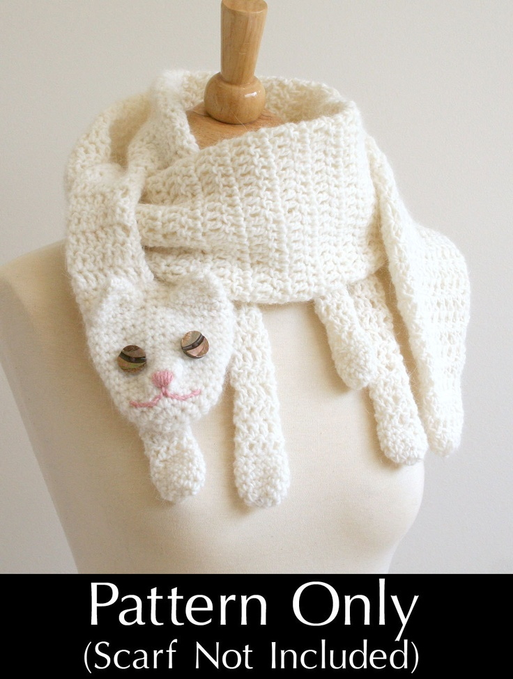 PDF Crochet Pattern for Cat Cuddler Scarf  DIY Fashion Tutorial Fashion Scarf Patterns