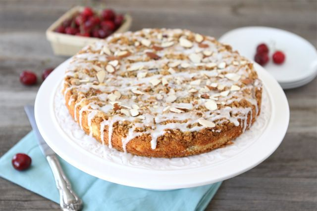 cake a tender buttermilk cake with fresh cherries an almond streusel ...