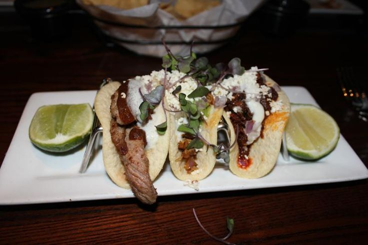 Taco trio featuring beef taco with chipotle salsa, roasted chicken ...