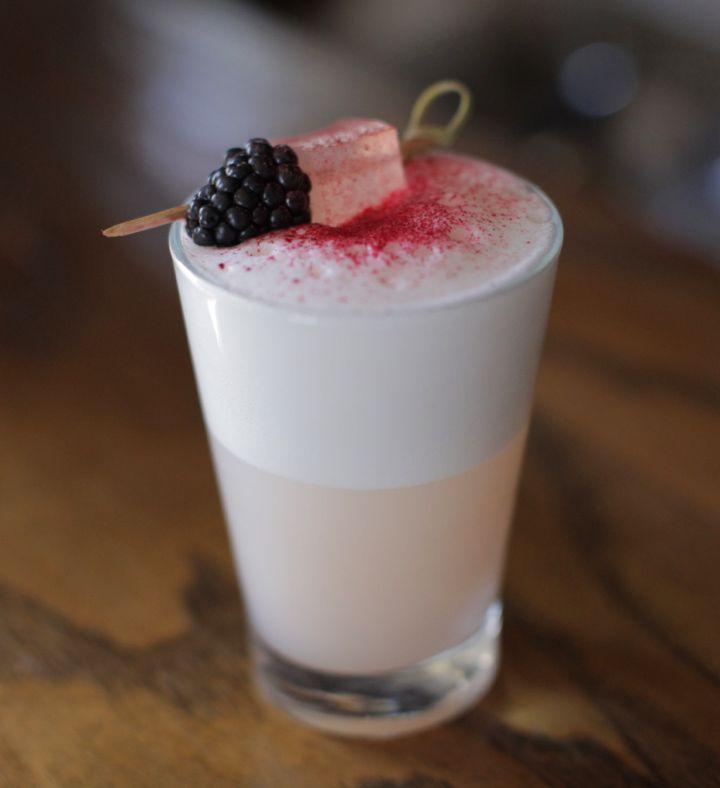 ... rhubarb syrup, lemon juice, egg white, cocchi americano, rosewater