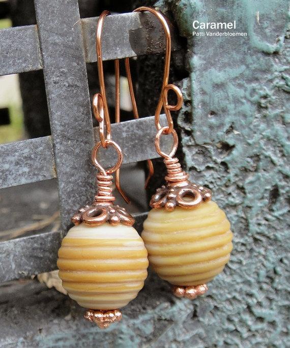 CaramelSwirled Lampwork Bead Earrings by PattiVanderbloemen, $20.00