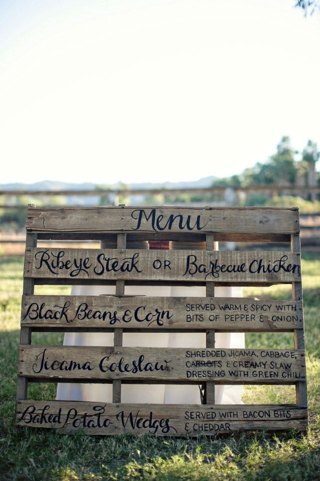 "Stain a wooden pallet to get a wonderfully rustic (and cost effective!) menu, program, or ""no seating plan"" sign!"