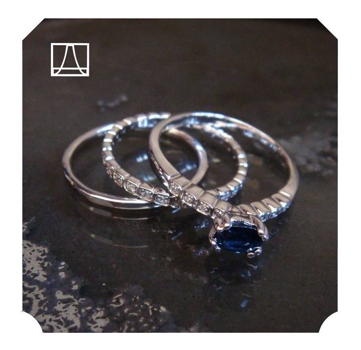 This sweet set of rings was made from jewels that my friend, Megan Maguire-Steele, had in her jewelry box. We made her a stack of rings from the sapphire and a few loose diamonds and added in a thin hammered band for good measure. Its a lot like the Wheat Pavé Promise ring in the collection- but custom made just for her! http://bit.ly/wheatpave
