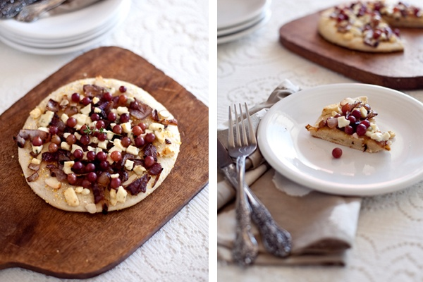 Pizza with champagne grapes, carmelized onions, gorgonzola, thyme, and ...