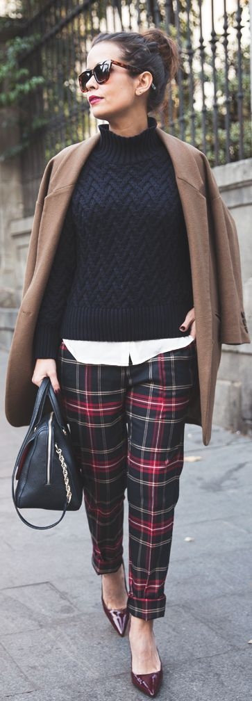Fall Outfit - tartan trousers, sweater with camel coat, black leather handbag, nude pumps.