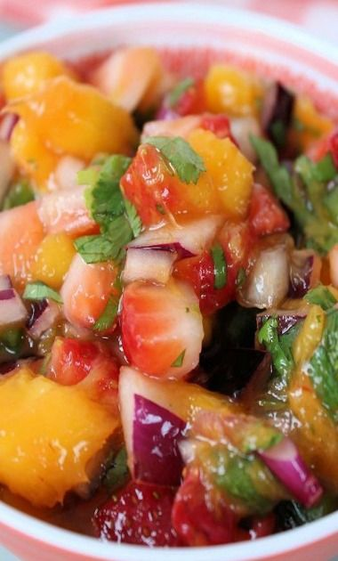 Strawberry Mango Salsa, sounds like an odd combination but it's not. # ...