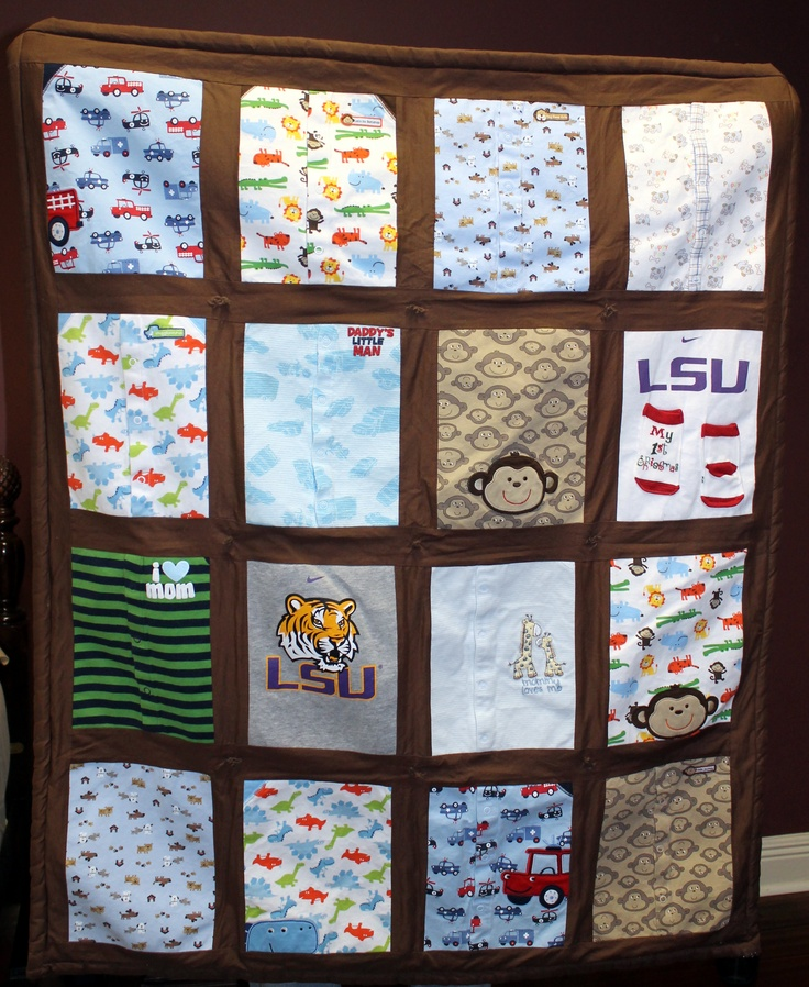 love this idea, keepsake quilt made from favorite baby clothes, I would even add favorite blankets as well.