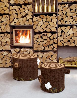 Crochet tree stump stools