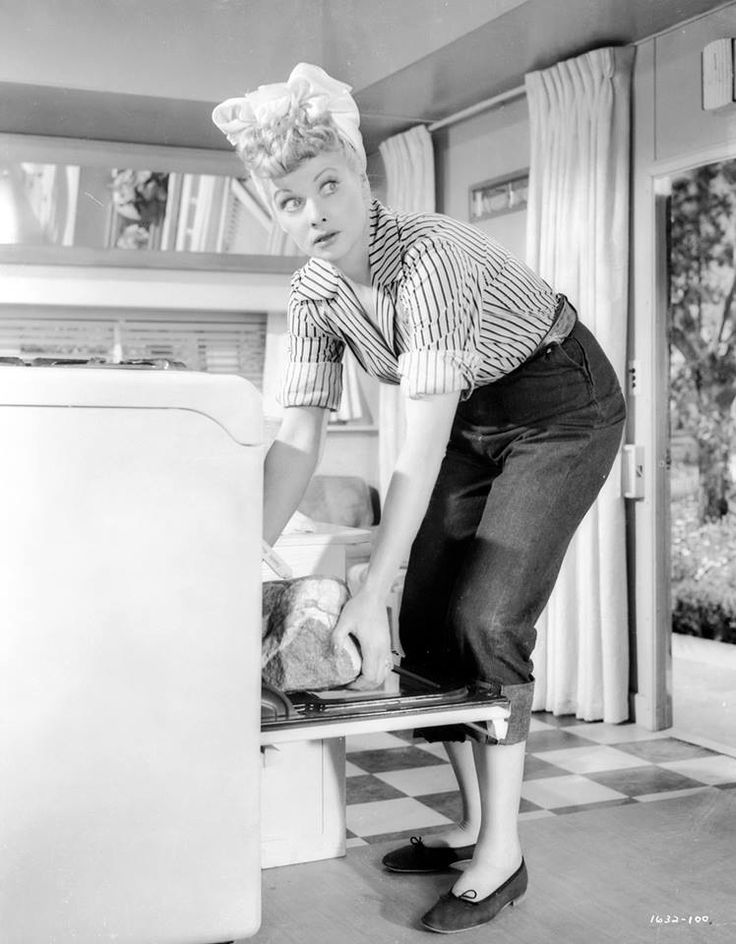 Lucille Ball looking darling in denim and stripes while in the kitchen. #vintage #actresses #Lucy #hair #fashion #homemaker