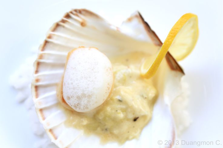 Seared scallop with creamy leek. | Foodilicious | Pinterest