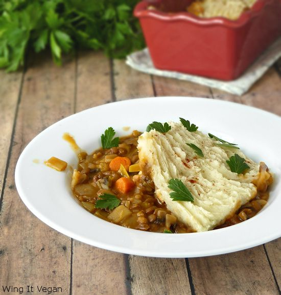 Mushroom and Lentil Cottage Pie with a Root Vegetable Topping by River ...