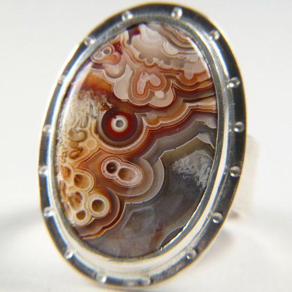 Agate ring handmade natural stone jewelry laguna by khmetalwork 150