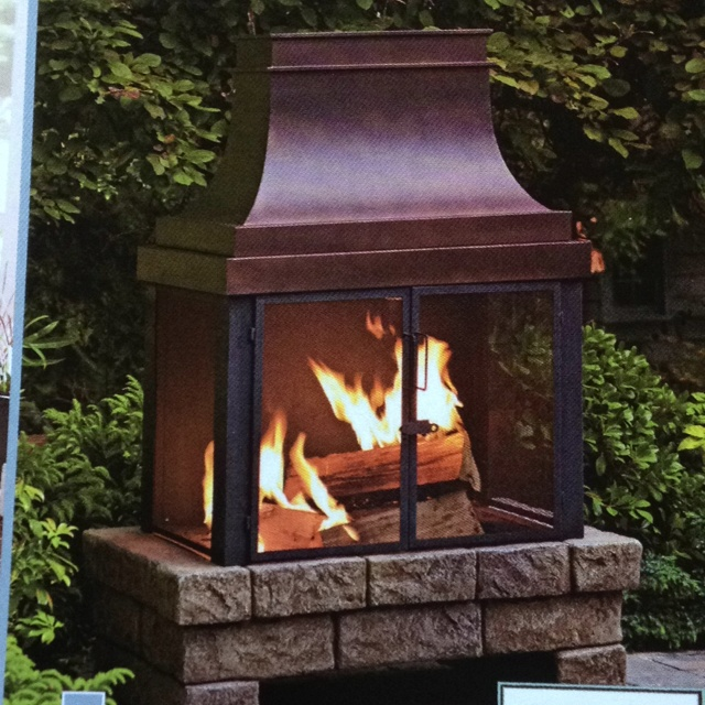 Lowes 89801 outdoor fireplace with faux stone base, by Allen + Roth