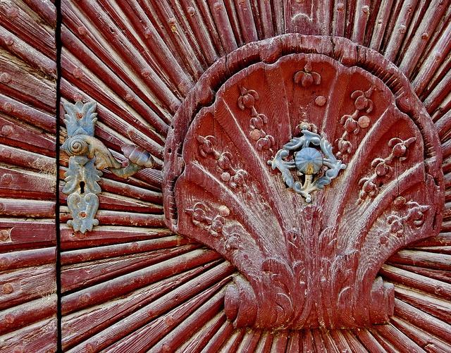 Red clamshell door detail doors pinterest for Clamshell door