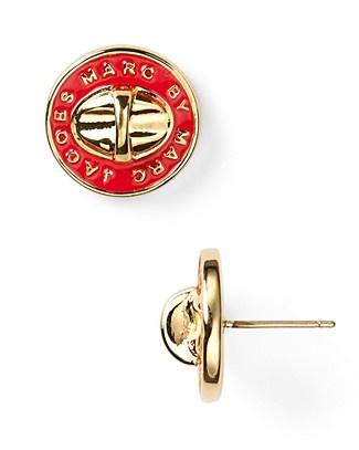 MARC BY MARC JACOBS Stripey Enamel Inlay Turnlock Stud Earrings $48