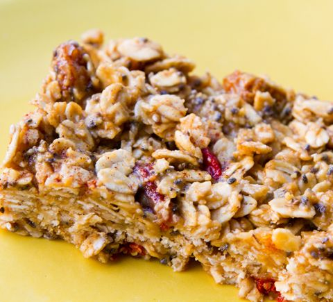 No bake oatmeal breakfast bars - variation I used is below:  3 cups Regular oatmeal (not instant)  1/4 cup raisins  6 Tbsp. peanut butter powder (or reg PB, but powder has way less calories)  3 Tbsp. honey  2 Tbsp. Vanilla protein powder (optional)  6 Tbsp. water (add or subtract as needed)  Mix, spread on foil, shape, cover with more foil, refrigerate overnight, cut, store in snack bags in fridge. Eat.  Makes 8 bars, very filling!