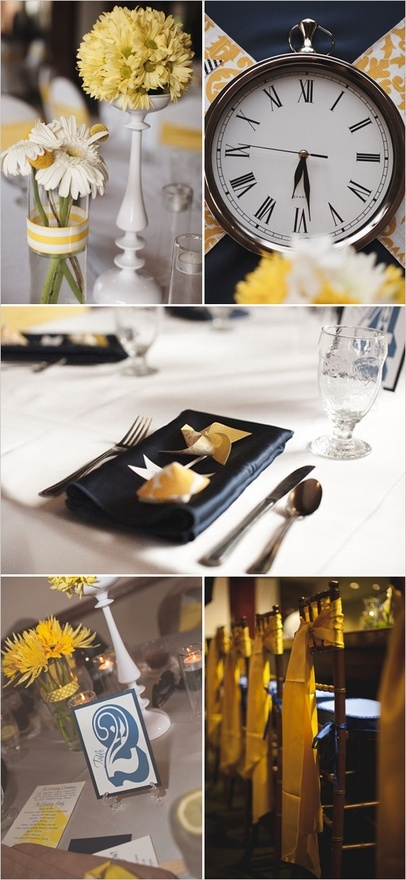 yellow navy wedding decor