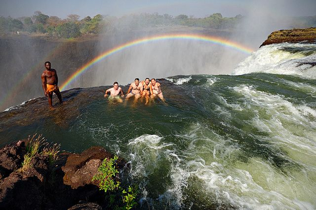Take a dip in the Devil's Pool at the top of the Victoria Falls, in southern Africa between the countries of Zambia and Zimbabwe.