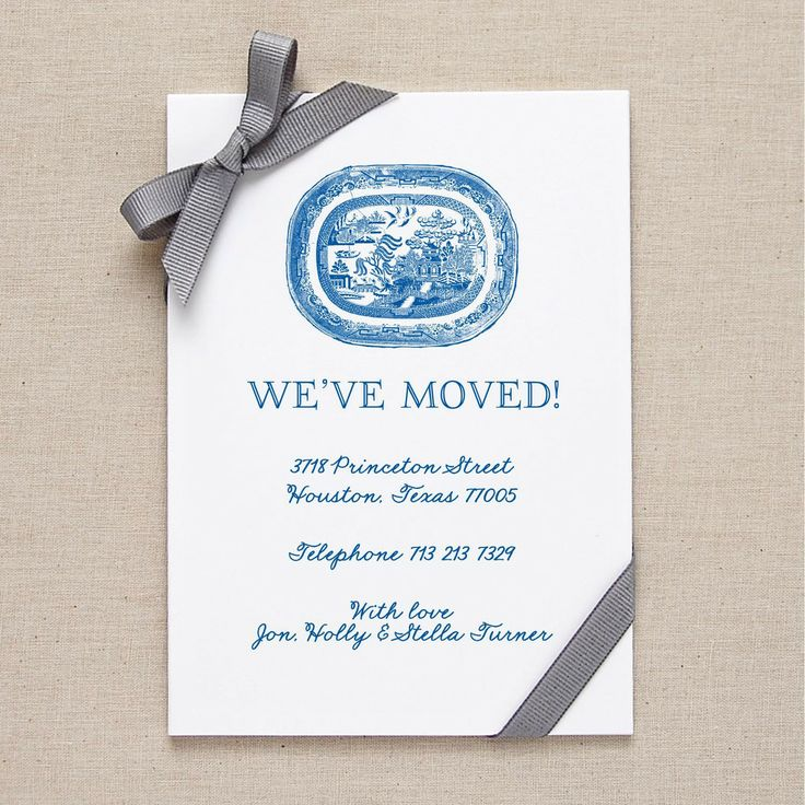 Willow Pattern Change of Address Cards  from Fraser & Parsley £20 for a set of 10
