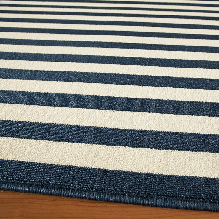 Indoor Outdoor Navy Striped Rug 7 10 x 10 10