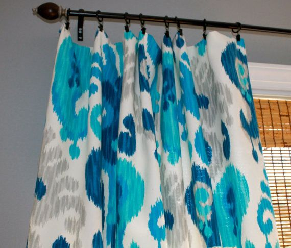 Blue, Turquiose, Grey and White Ikat Curtain Panel / Custom Drapery in ...