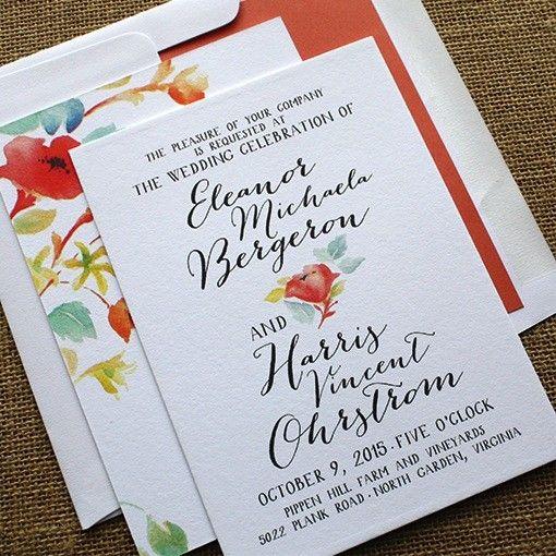 English Garden Wedding Invitation Sample