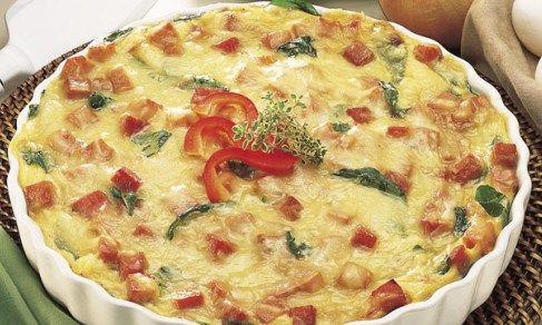 ... King's Hawaiian bread, eggs, ham, Swiss cheese, spinach and onions