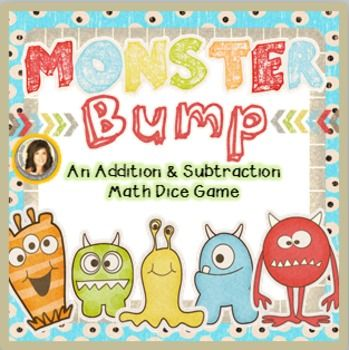 Additon & Subtraction BUMP Math Game: Monsters Theme! Each game comes ...