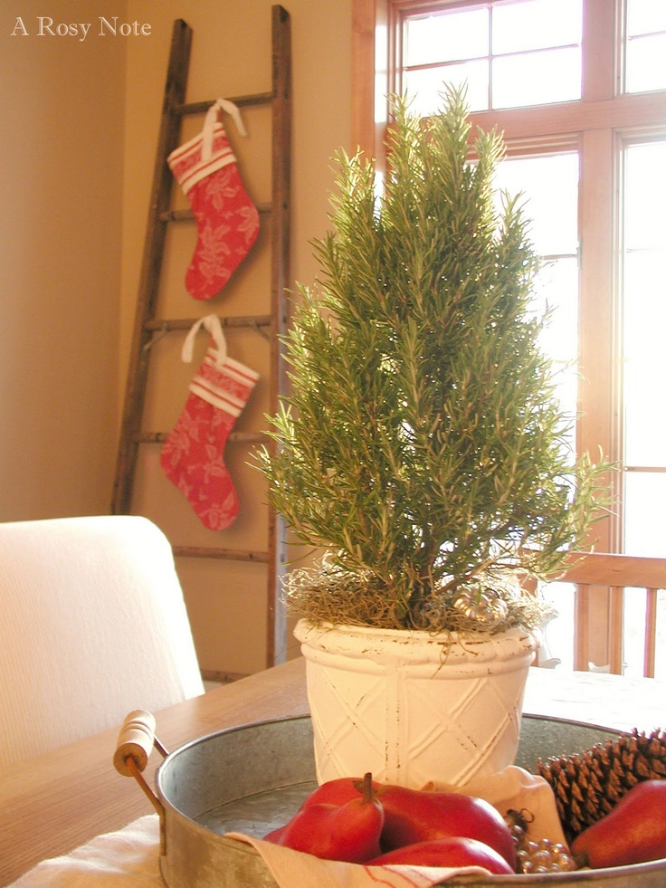 Hang stockings from an old ladder - great idea if you don't have a fireplace!