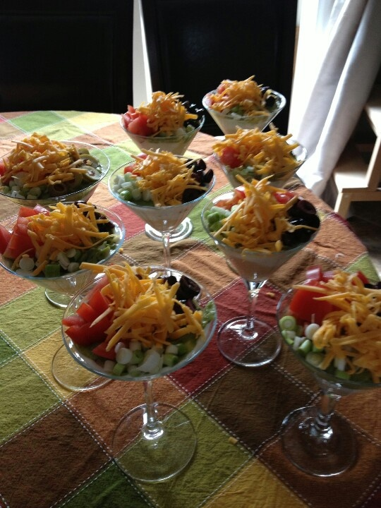Individual nacho dips in martini glasses. You can double dip!!