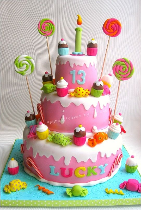 Birthday Cake Ideas With Sweets : Sweets and cupcake birthday cake Cake/Cupcake Cakes ...