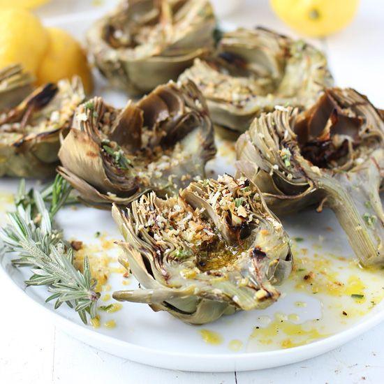 Grilled Artichokes with Rosemary Lemon Vinaigrette and Garlic ...