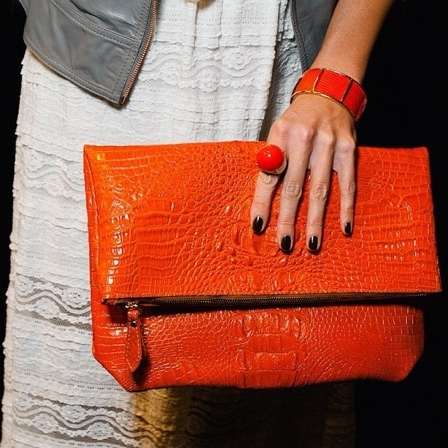 Tangerine fold-over clutch from Heather Belle #purse #orange