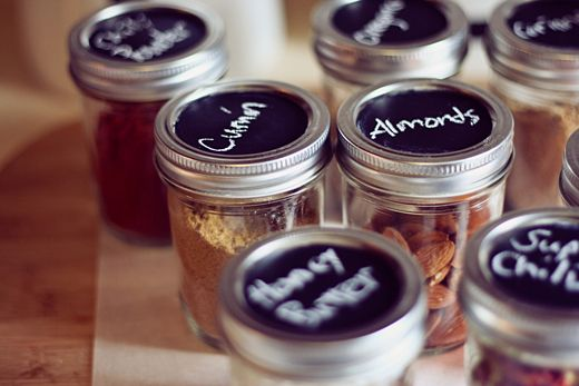 Painted jar lids for spices by Our Blessed Road #diy