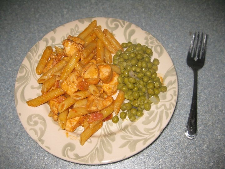 ... , bacon & herb sauce with a side of fresh peas sauteed with garlic