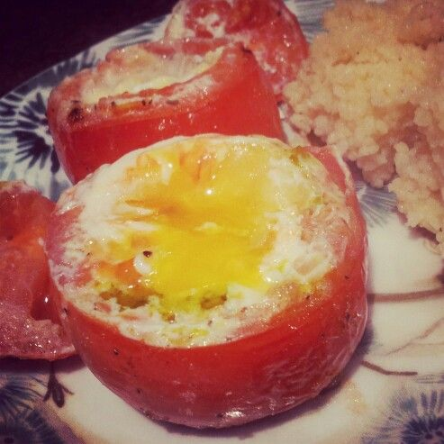 pesto and egg stuffed baked tomatoes | Food: I did that | Pinterest