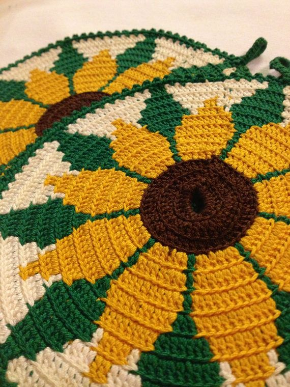 60s swedish vingage pot holders. Crochet. Nice colours, Sunflowers