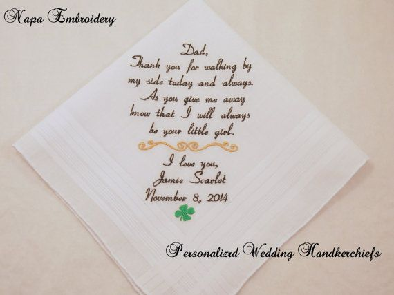 Wedding Gifts For Bride Ireland : WEDDING GIFTS for Father of the BRIDE Personalized Embroidered Handke ...