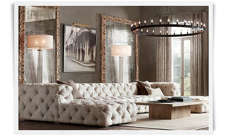 tufted couch restoration hardware luxe living rooms