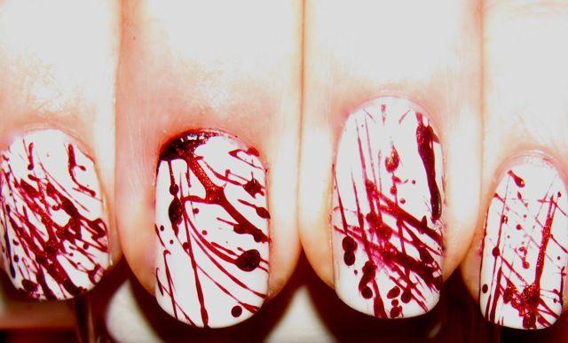 Blood splatter nails.. Halloween and Dexter premier