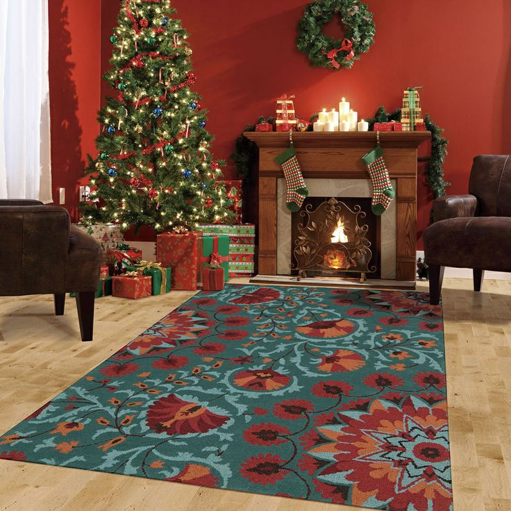 Hand tufted suzani teal floral bloom rug 8 39 x 10 39 6 for 10x14 bedroom