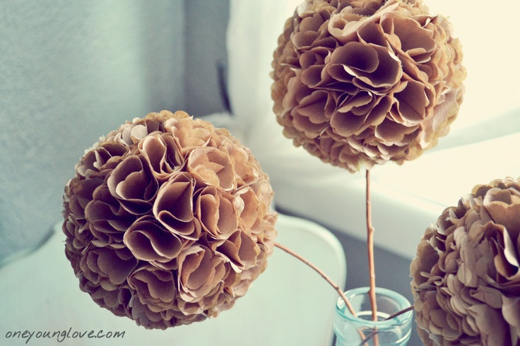 Paper hydrangeas- brown paper bags and a styrofoam balls..