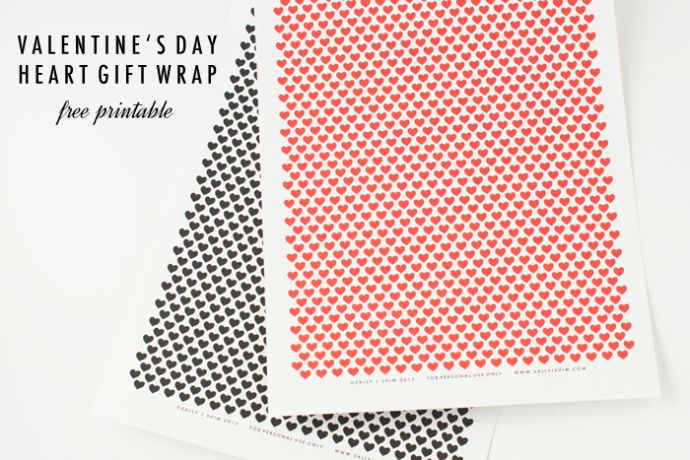 Sally J Shim - Valentine's Day Heart Gift Wrap - free printable