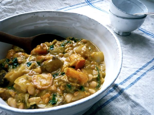 ... » Fall Vegetable Cannellini Bean Stew with Spelt Berries and Kale