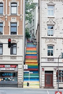 pretty rainbow stairs in Wuppertal, Germany